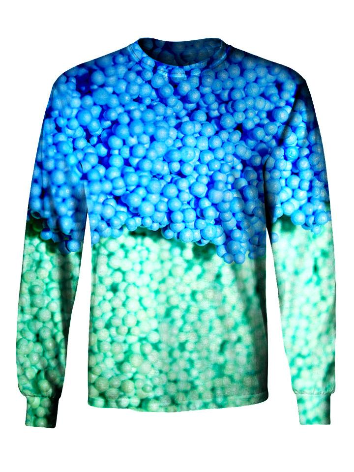 Gratefully Dyed Apparel blue & green dippin' dots unisex long sleeve front view.