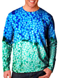Front view of model wearing Gratefully Dyed Apparel dippin' dots unisex long sleeve.