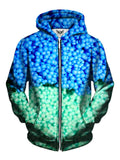 Men's blue & green dippin' dots zip-up hoodie front view.