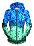 Front view of women's all over print dippin dots ice cream zip up hoody by Gratefully Dyed Apparel.