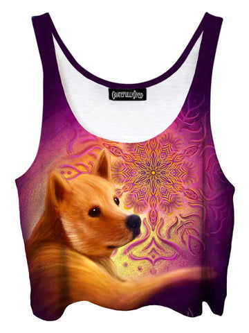 Trippy front view of GratefullyDyed Apparel pink & brown dog fractal crop top.