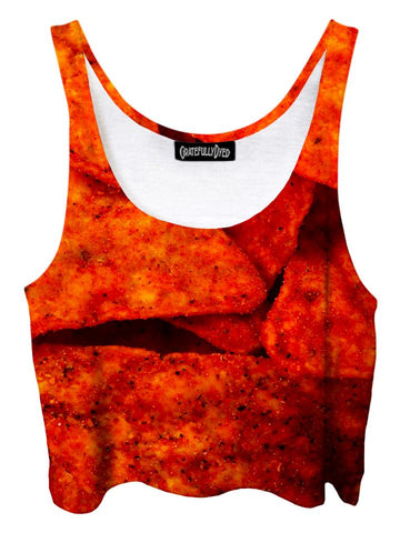 Trippy front view of GratefullyDyed Apparel red doritos crop top.