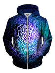 Men's blue, green & purple bubble texture zip-up hoodie front view.
