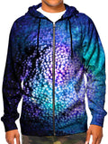 Model wearing GratefullyDyed Apparel psychedelic bubble galaxy zip-up hoodie.