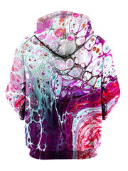 back view of a pink and purple sublimation hoodie