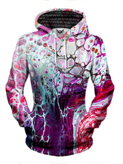 womens all over print hoodie - pink purple blue marble painting
