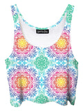 Trippy front view of GratefullyDyed Apparel rainbow paisley mnandala crop top.