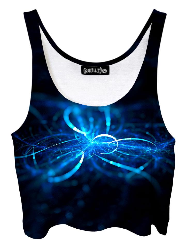Trippy front view of GratefullyDyed Apparel blue & black light show galaxy crop top.
