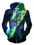 Front view of women's all over print space zip up hoody by Gratefully Dyed Apparel.