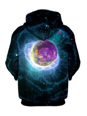 Back view of same psychedelic nebula planet galaxy all over print hoody.
