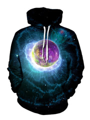 Men's black with purple planet & nebula explosion pullover hoodie front view.