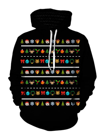 Colorful Emoji On Black Christmas Pullover Hoodie Front View