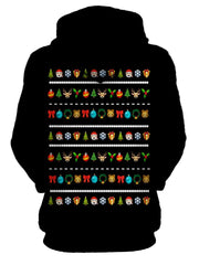 Stylish Emoji Christmas Sweater Pullover Hoodie Womens Back View