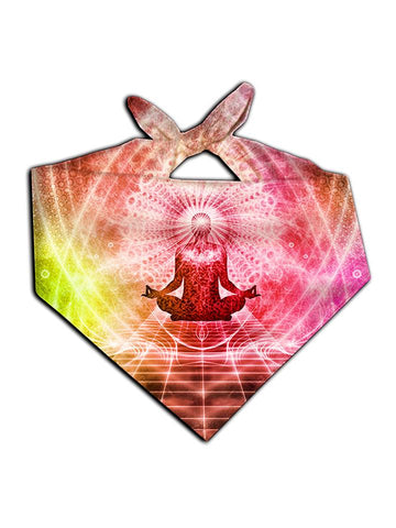 All over print rainbow visionary art bandana by GratefullyDyed Apparel tied neck scarf view.