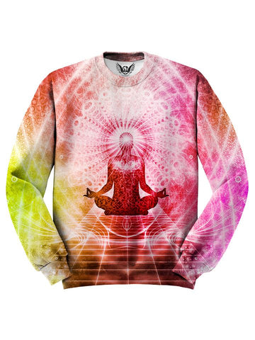 All over print pink, orange & yellow lotus pose chakra unisex sweater by GratefullyDyed Apparel front view.