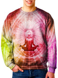 Model wearing Gratefully Dyed Apparel lotus pose chakra unisex sweater.