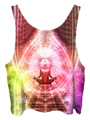 All over print psychedelic sacred geometry cropped top by Gratefully Dyed Apparel back view.