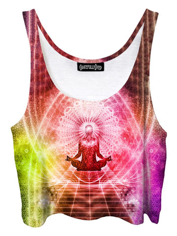 Trippy front view of GratefullyDyed Apparel orange, pink & yellow visionary art mandala crop top.