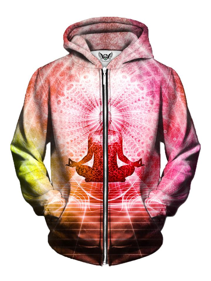 Men's pink, orange & yellow chakra visionary art zip-up hoodie front view.