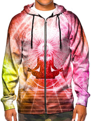 Model wearing GratefullyDyed Apparel psychedelic pink, orange & yellow chakra zip-up hoodie.