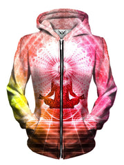 Front view of women's all over print visionary art zip up hoody by Gratefully Dyed Apparel.