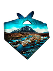 All over print blue & brown mountain river bandana by GratefullyDyed Apparel tied neck scarf view.