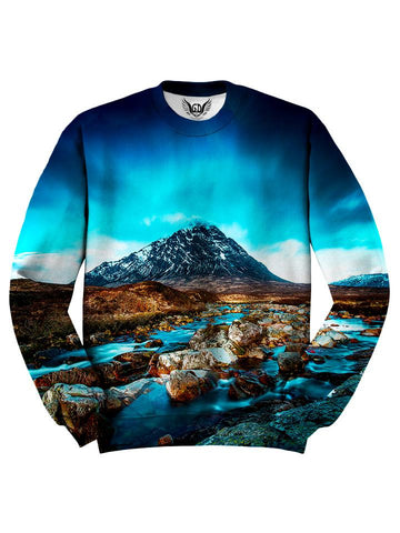 All over print blue & brown mountain river unisex sweater by GratefullyDyed Apparel front view.
