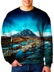 Model wearing Gratefully Dyed Apparel mountain river nature unisex sweater.