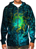 Model wearing GratefullyDyed Apparel psychedelic abstract mandala zip-up hoodie.