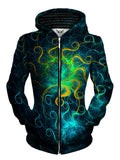Front view of women's all over print abstract sacred geometry zip up hoody by Gratefully Dyed Apparel.