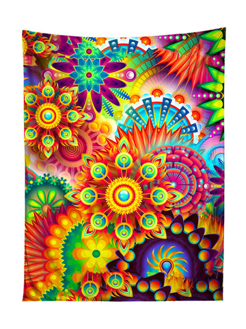 Vertical hanging view of all over print rainbow mandala fractal tapestry by GratefullyDyed Apparel.