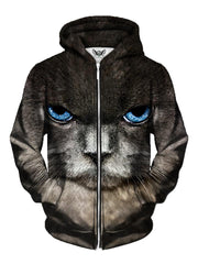 Men's close up gray kitty cat with blue eyes zip-up hoodie front view.
