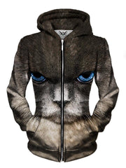 Front view of women's all over print cat zip up hoody by Gratefully Dyed Apparel.