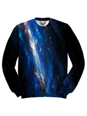 All over print blue & black fiber optics unisex sweater by GratefullyDyed Apparel front view.