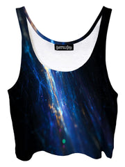 Trippy front view of GratefullyDyed Apparel black & blue fiber optic galaxy crop top.