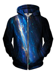Men's black & blue fiber optics zip-up hoodie front view.