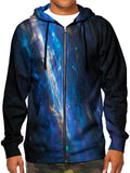 Model wearing GratefullyDyed Apparel all over print psychedelic blue fiber optics zip-up hoodie.