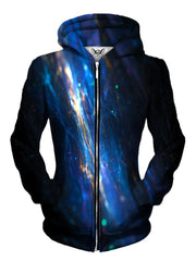 Front view of women's all over print fiber light show zip up hoody by Gratefully Dyed Apparel.