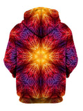Psychedelic Fire Red Mandala Pullover Hoodie Back View