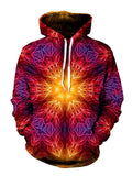 Psychedelic Fire Red Mandala Pullover Hoodie Front View