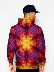 Model In Psychedelic Fire Red Mandala Pullover Hoodie Back View