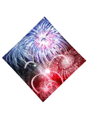 Trippy Gratefully Dyed Apparel red, white & blue fireworks bandana flat view.