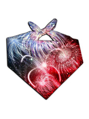 All over print red, white & blue fireworks bandana by GratefullyDyed Apparel tied neck scarf view.
