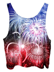 All over print psychedelic 4th of july cropped top by Gratefully Dyed Apparel back view.