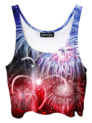 Trippy front view of GratefullyDyed Apparel red, white & blue fireworks crop top.