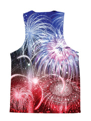 Psychedelic all over print 4th of July tank by GratefullyDyed Apparel back view.