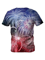Back view of all over print psychedelic 4th of July t shirt by Gratefully Dyed Apparel.