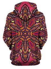 Rear of women's all over print pink, purple, orange & yellow psychedelic mandala hoody.