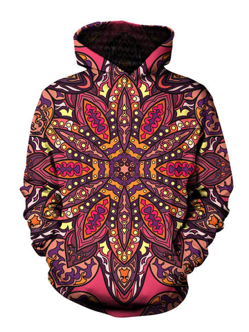 Men's pink, purple, orange & yellow flower mandala pullover hoodie front view.