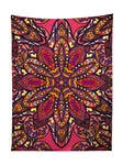 Vertical hanging view of all over print pink, orange, purple & yellow mandala tapestry by GratefullyDyed Apparel.
